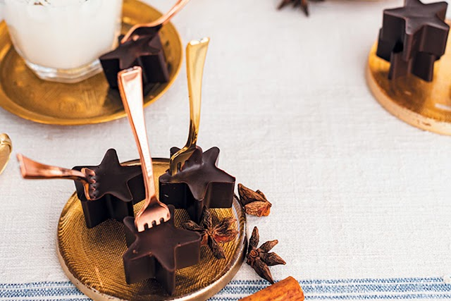 Spiced hot chocolate on a stick