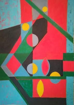 Cuadro abstracto que representa estrellas y planetas danzando en un cielo rojo. realizada con pinturas acrílicas sobre cartulina