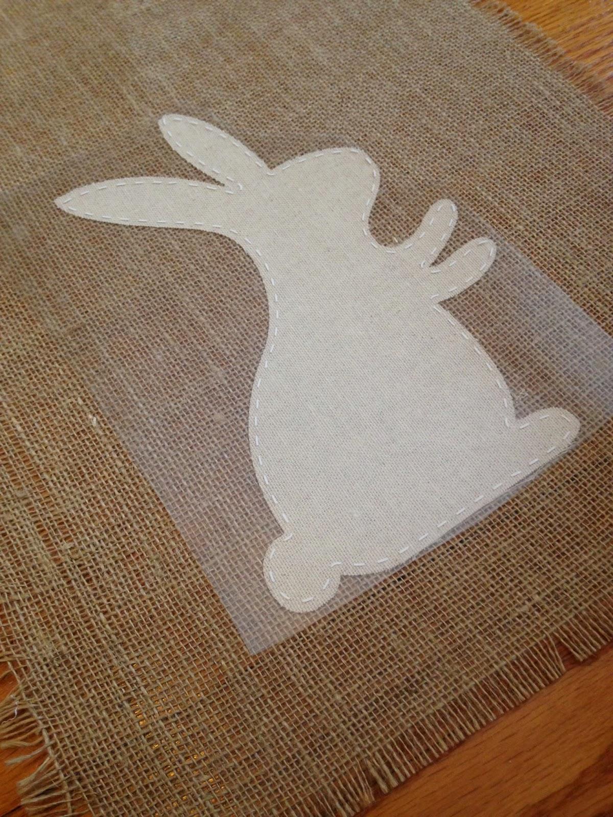 Silhouette project, Silhouette idea, easter bunny, table runner, HTV, heat transfer vinyl