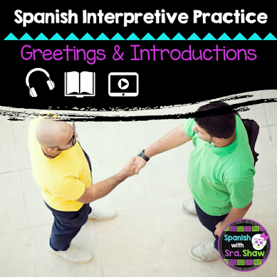Spanish Greetings, Introductions, and Small Talk Interpretive Listening Practice Activities Featuring Authentic Resources #authres