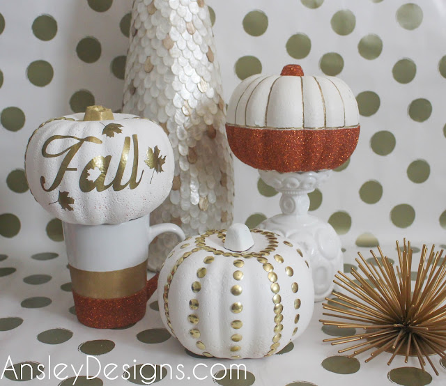 Cheap DIY fall gold & white glitter pumpkin decor.