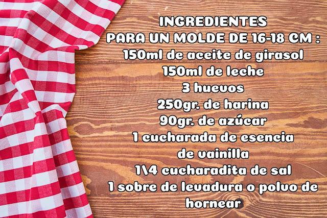 ingredientes bizcocho de vainilla