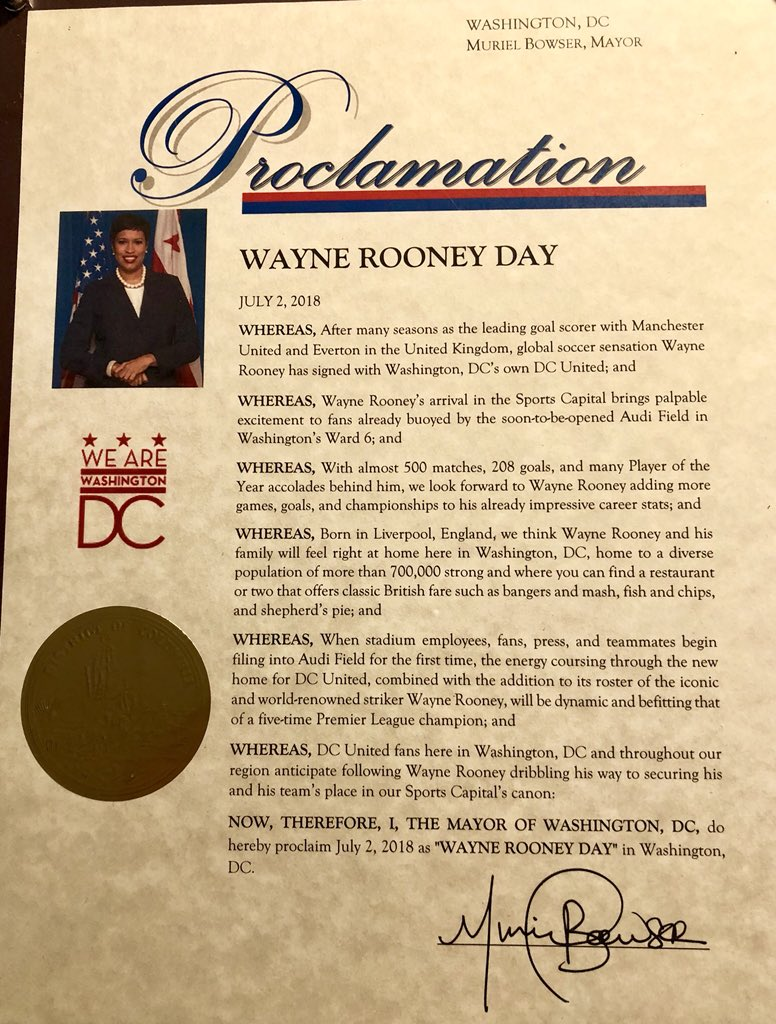 Washington DC mayor Muriel Bowser declares a new holiday called 'Wayne Rooney Day'