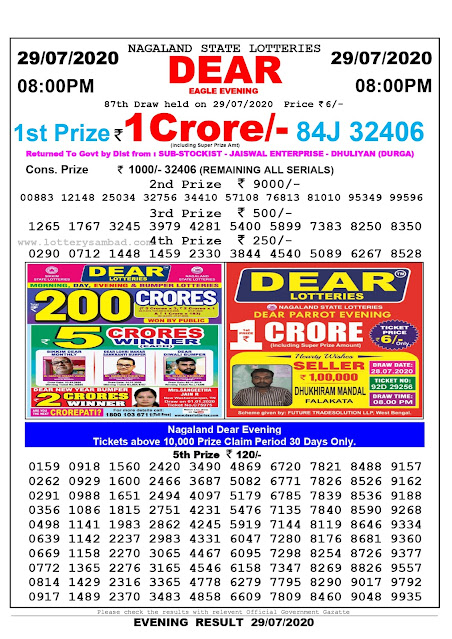 Lottery Sambad 29-07-2020 Nagaland State Lottery Result 08.00 PM