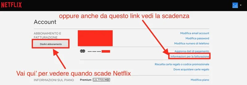 schermata disdetta di netflix per vedere quando scade abbonamento