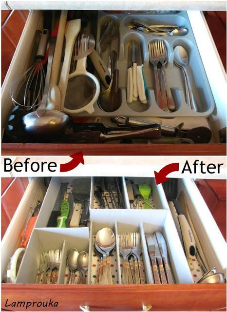πριν και μετά την οργάνωση συρταριών κουζίνας