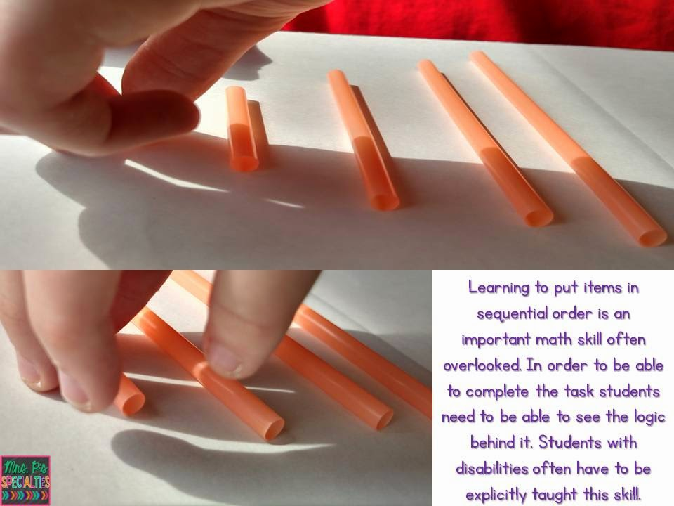 photo of student sorting and ordering straws by length