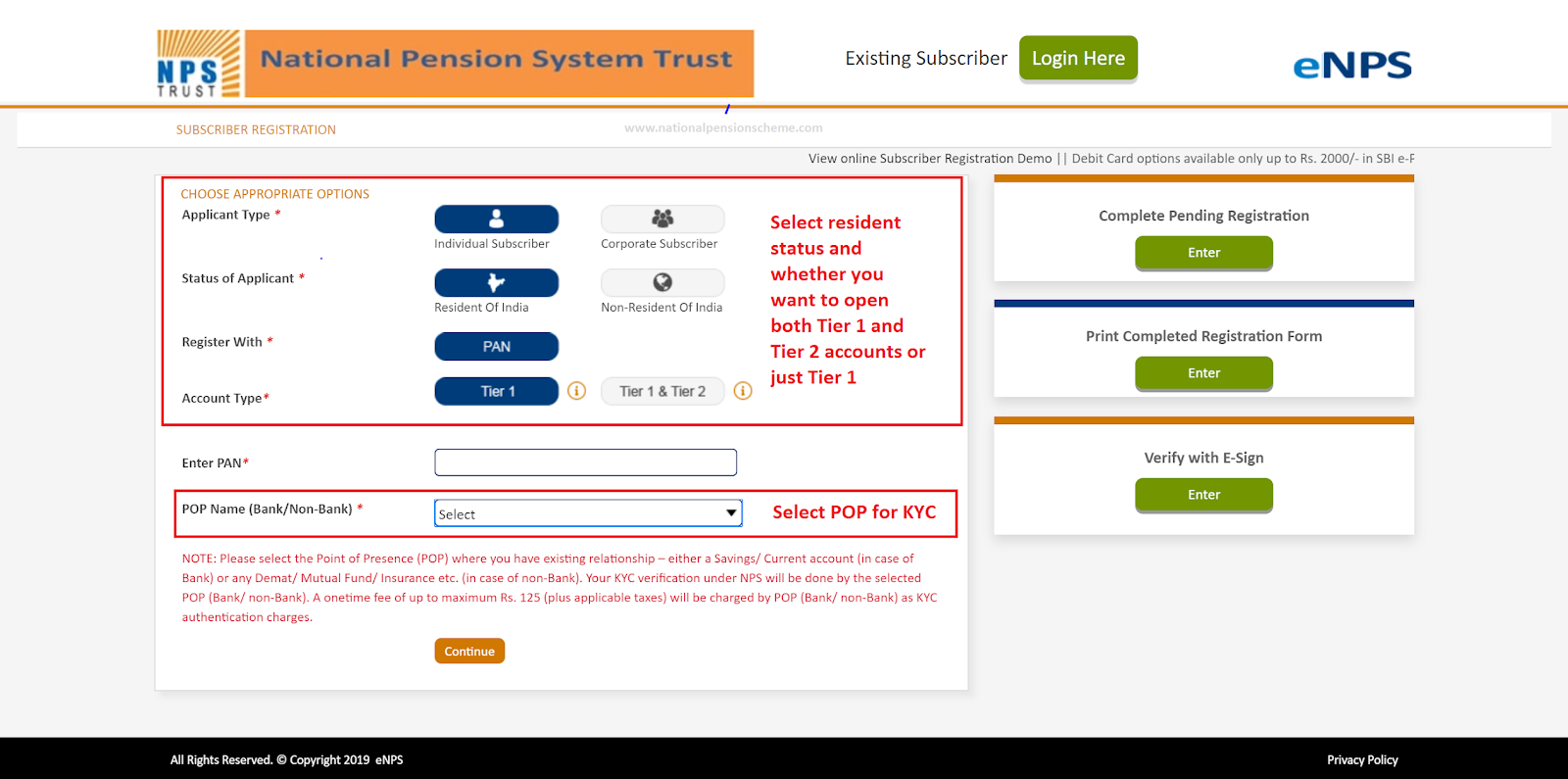 Screenshot of eNPS online registration screen on Karvy portal