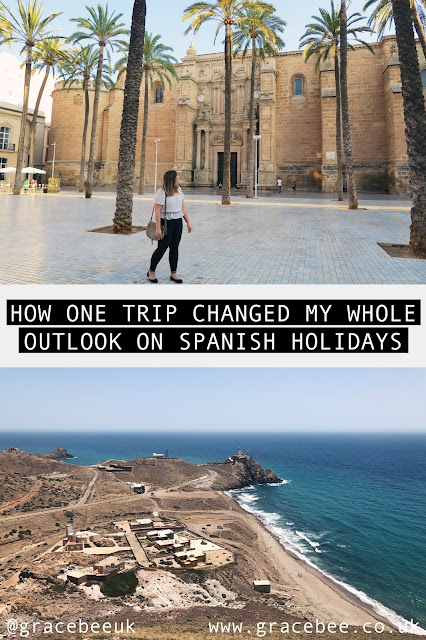 "Grace is standing in front of Almeria Cathederal. Below this image is another image of the lighthouse at Cabo De Gata. In between these images the text reads ""how one trip changed my whole outlook on Spanish Holiday"""
