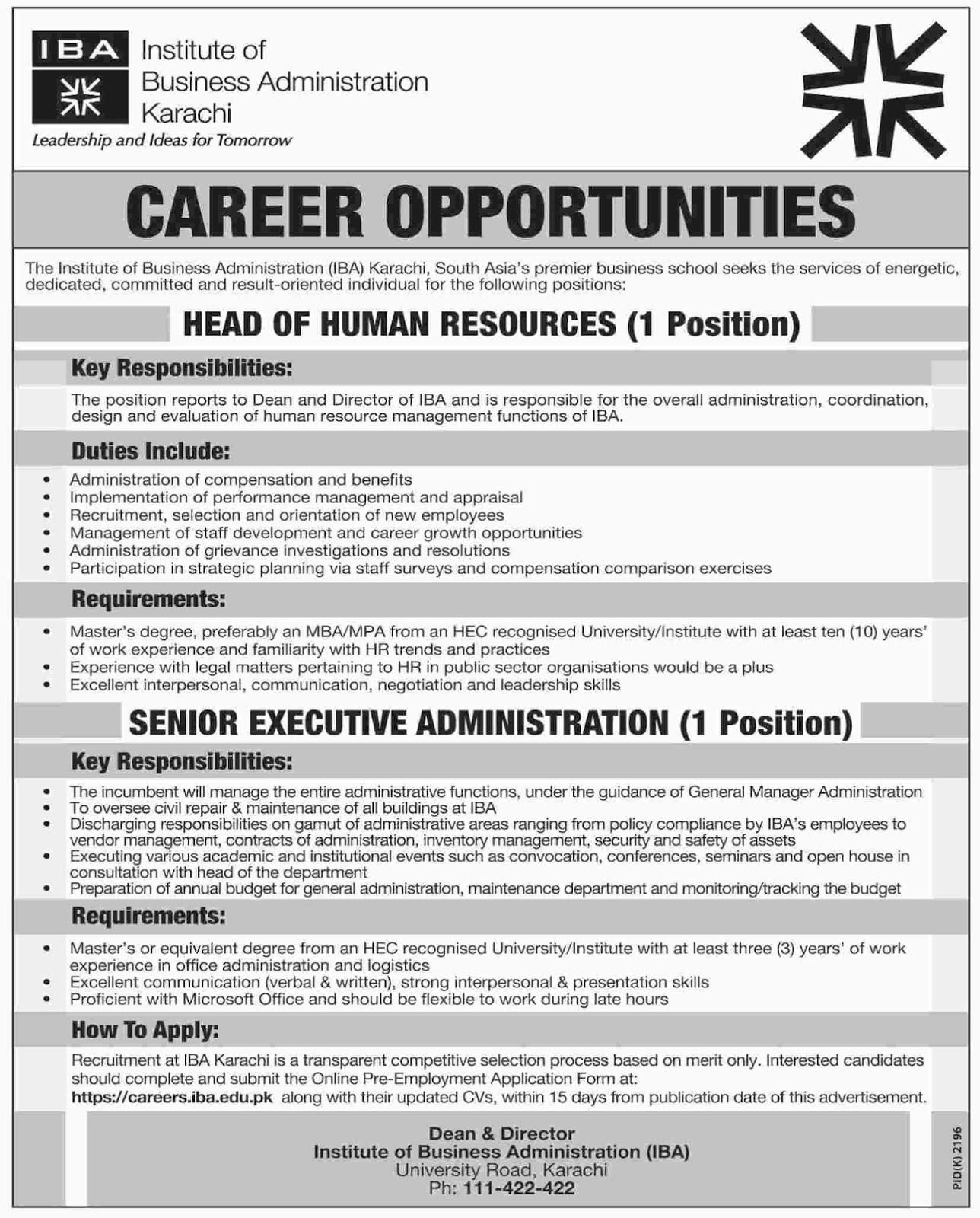 Jobs In Institute Of Business Administration IBA Dec 2017