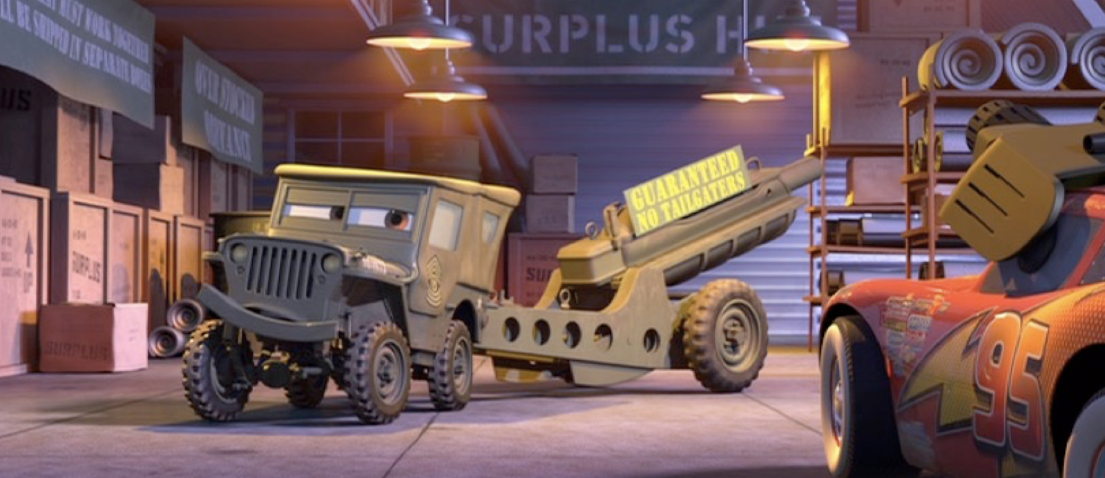pixar cars sarge with cannon