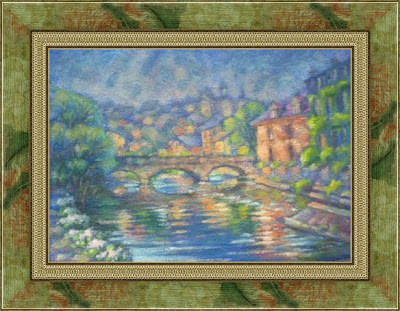 Paintings by Ivan Krutoyarov. Luxembourg. Alzette River. Old Town, landscape, sunriver, flowers, sunshine, bright painting, impressionism