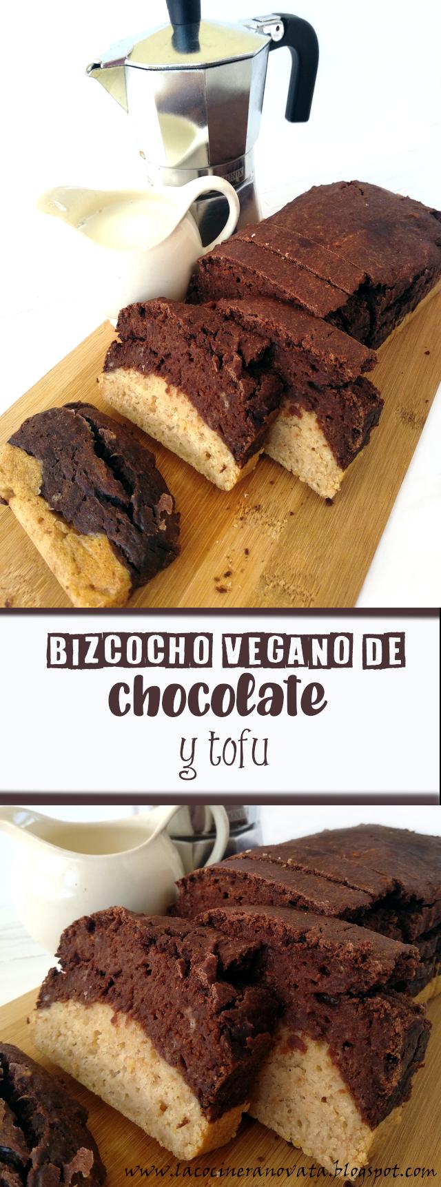 BIZCOCHO VEGANO DE CHOCOLATE Y TOFU la cocinera novata cocina receta vegana reposteria dulce saludable sano healthy casera