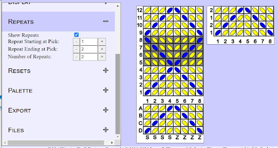 A screen shot of TDD showing how the new pattern repeat tool displays a band