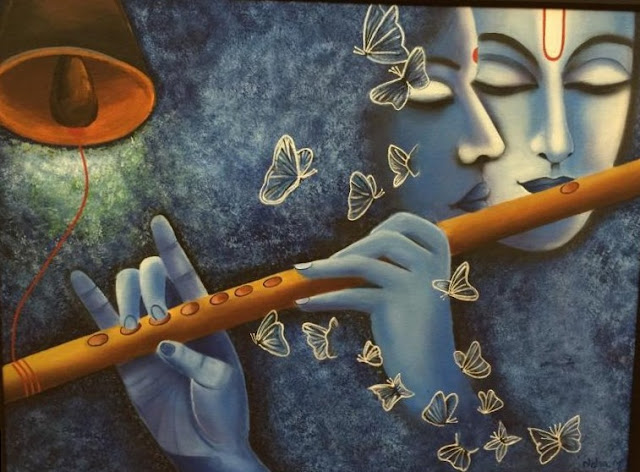 Cerulean Blue color Radhe Krishna Painting with flute and bell, stippling in background