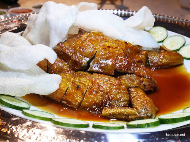 "Roasted Crispy Chicken ""Pi Pa"" Style with Prawn Crackers"