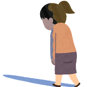 とぼとぼ歩いている人のイラスト(女性)
