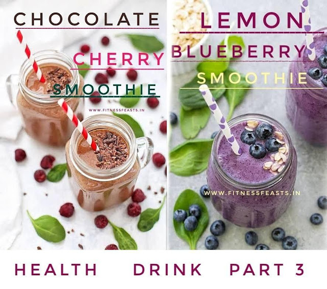 Lemon blueberry smoothie, Chocolate cherry smoothie.