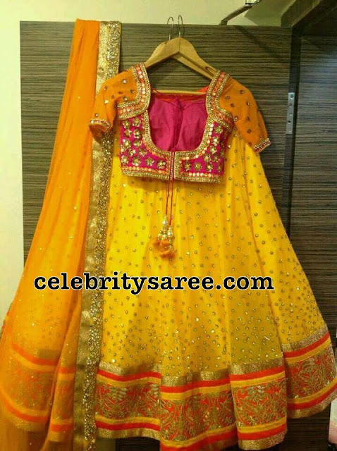 Bright Yellow Glitter Half Saree
