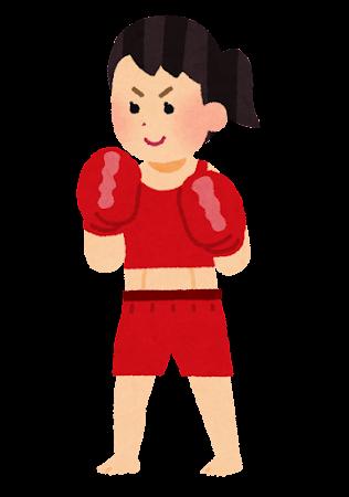 キックボクサーのイラスト(女性)