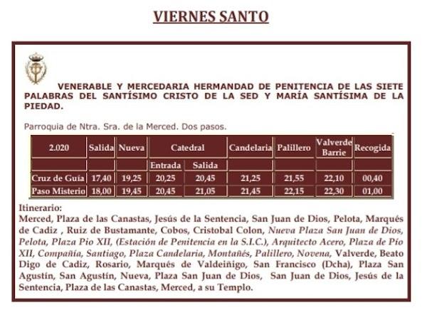 La Hermandad de las Siete Palabras de Cádiz hace publico su itinerario para el Viernes Santo 2020