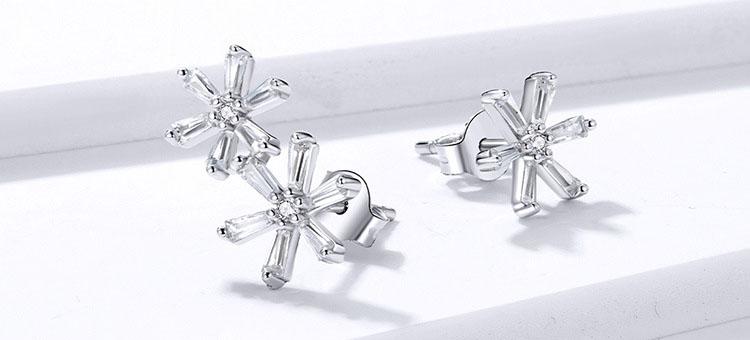 不對稱風花花物語 925純銀鋯石耳環