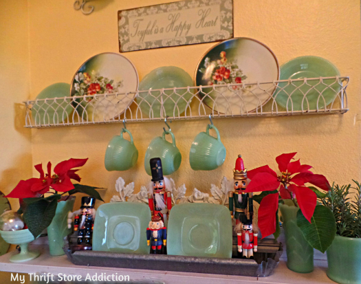 A Holly Jolly Jadeite Kitchen mythriftstoreaddiction.blogspot.com A variety of nutcrackers displayed with vintage jadeite collection