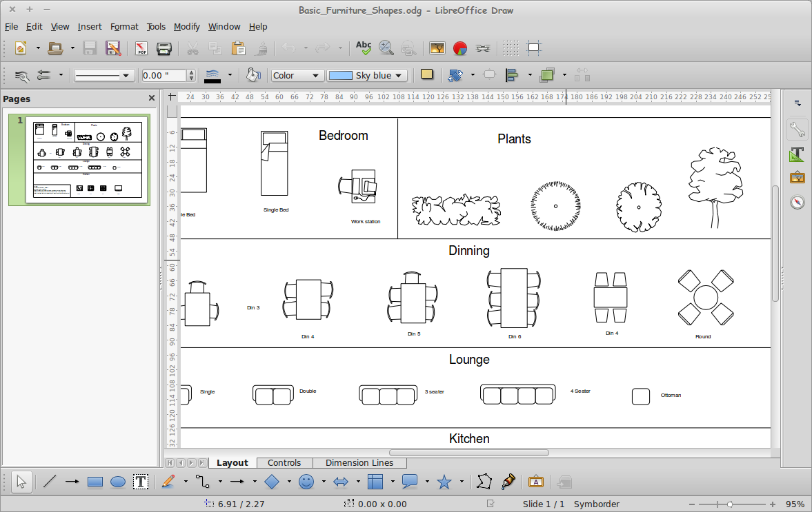 Cara menggambar furniture dasar di libreoffice draw for Table design libreoffice
