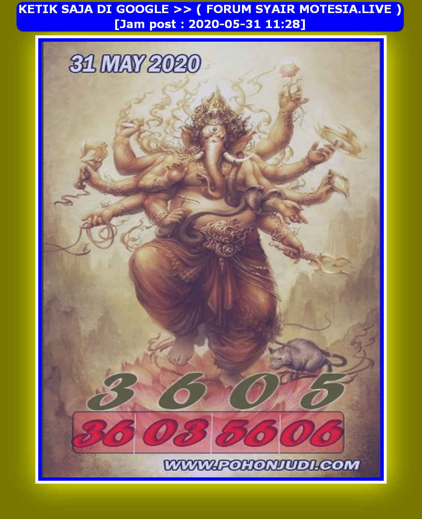Kode syair Hongkong Minggu 31 Mei 2020 305