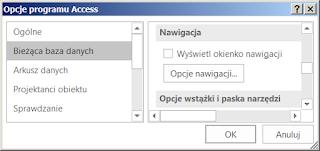 Opcje startowe MS Access