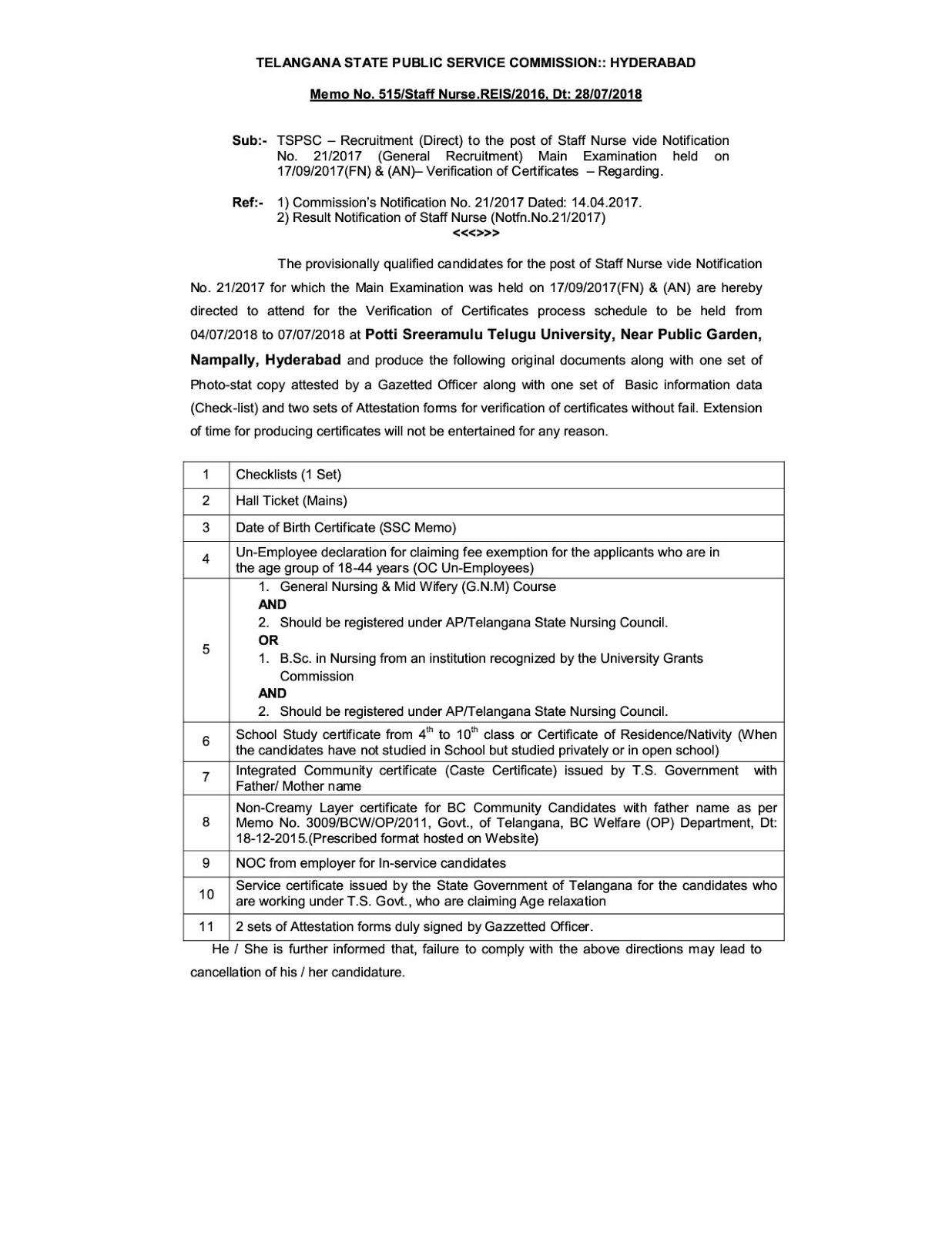 Telangana PSC Staff Nurse Document Verification Date and