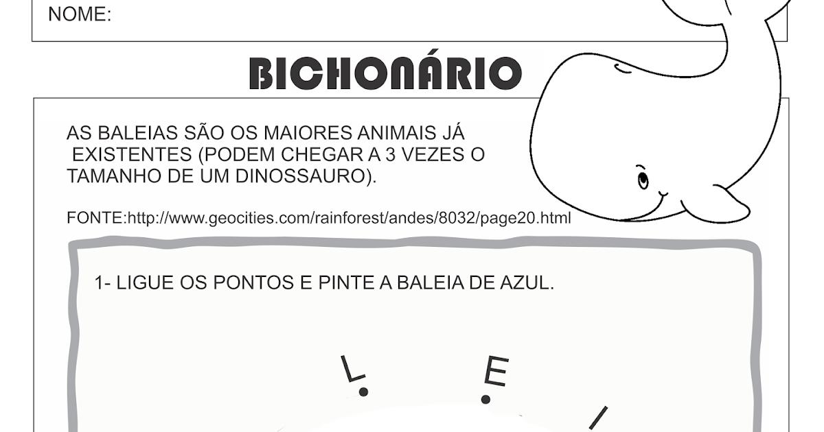 Atividade Bichonario Letra B Baleia Liga Pontos