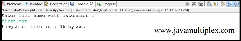 Output of Java program that finds the length of given file.