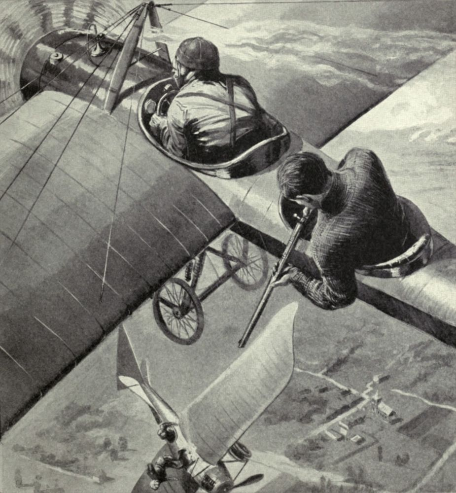 British two-seater monoplane fires on a German Taube fighter