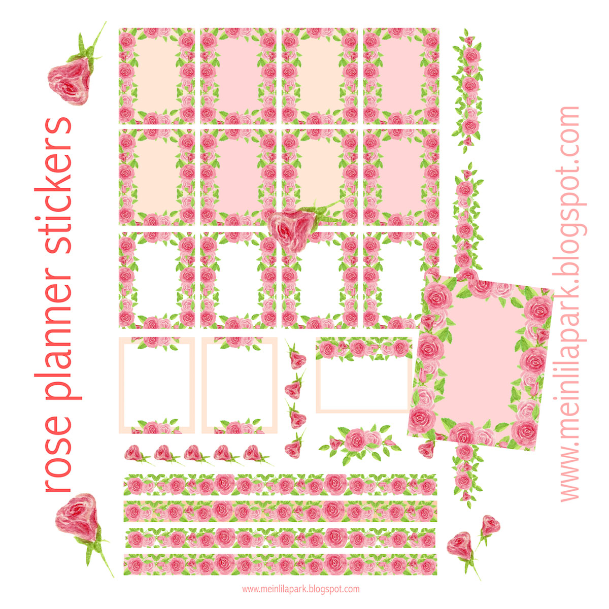 Free printable rose planner stickers - ausdruckbare Etiketten ...