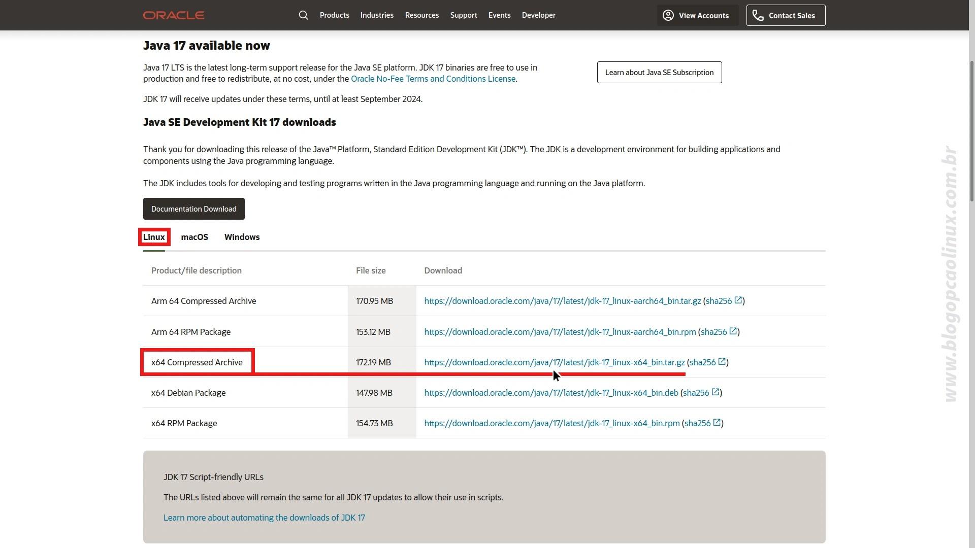 Página de download do Oracle Java SE Development Kit em setembro de 2021