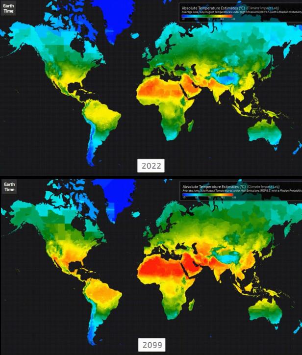 Los mapas de calor climático muestran lo caliente que podría llegar a ser para los preadolescentes de hoy.Miami y Fort Lauderdale, Florida, desaparecen bajo el agua debido al aumento del nivel del mar