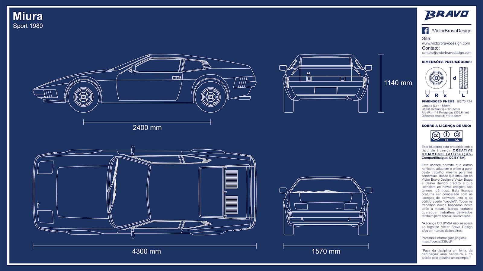 Imagem mostrando o desenho do blueprint do Miura Sport 1980