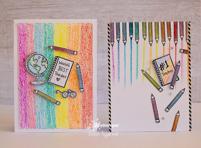 Teacher day card using Crayons