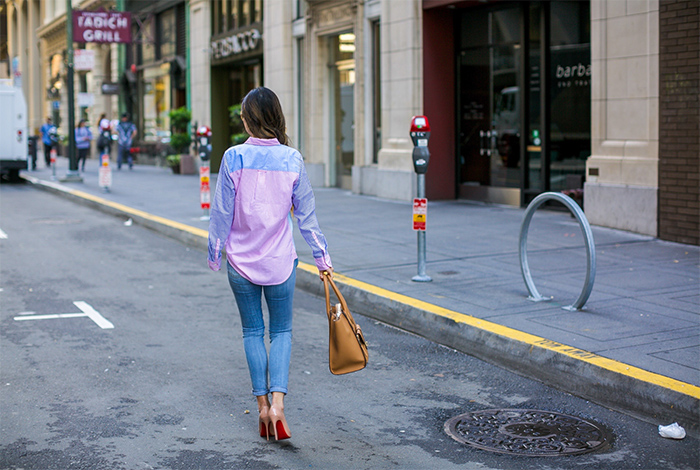 jcrew colorful boy shirt, 7fam skinny jeans, henri bendel convertible tote, christian louboutin so kate pumps, swarovski sunglasses, san francisco street style, san francisco fashion blog, spring outfit ideas