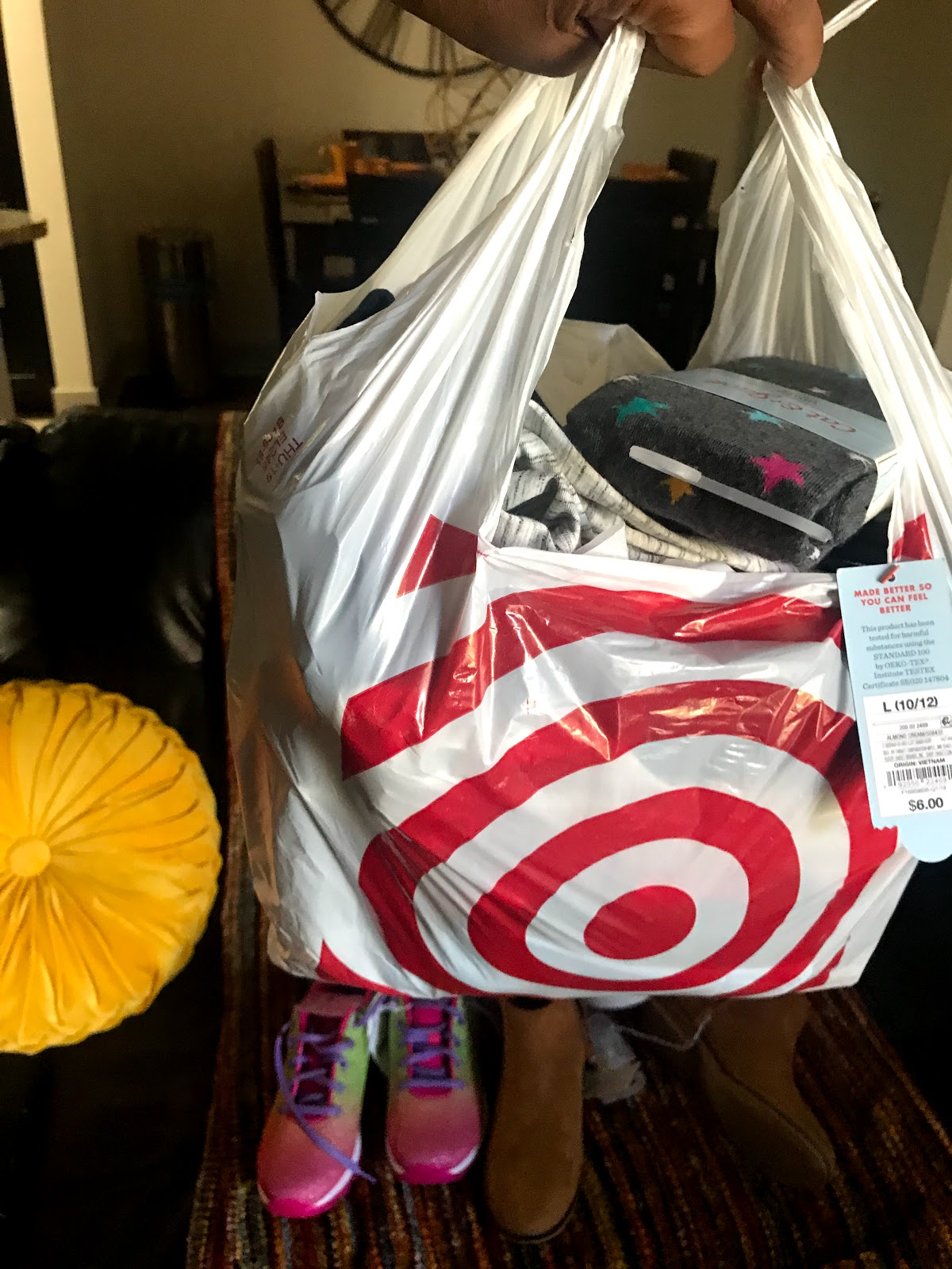 Image: Target bag with clothes, shoes and more to show and haul on Bits and babbles blog