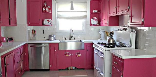 Dekorasi Desain Dapur Cantik Warna Pink Terbaru