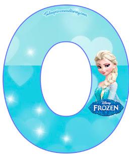 Frozen Elsa Alphabet with Hearts. Abecedario de Elsa de Frozen con Corazones Celestes.