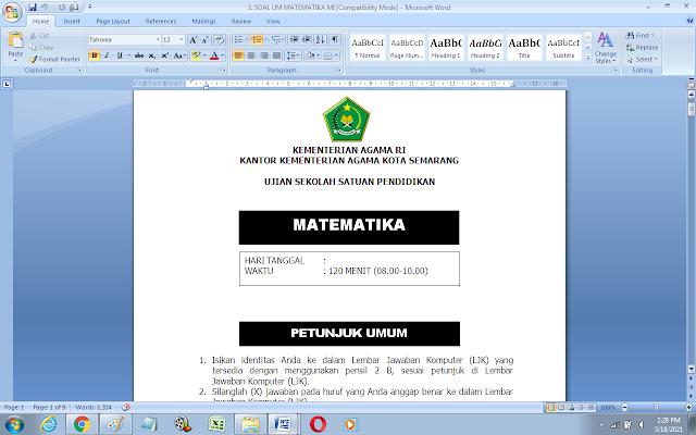 Soal Ujian Madrasah (UM) Matematika Kelas 6 MI