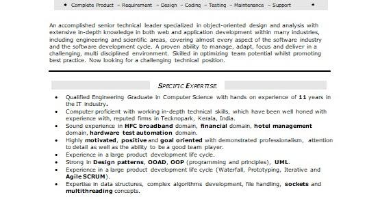 senior lead engineer sample resume format in word free download