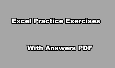 Excel Practice Exercises PDF With Answers