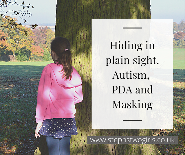 photo of a girl from behind, girls is half hiding behind tree looking over field. text states 'Hiding in plain sight. Autism,PDA and masking'