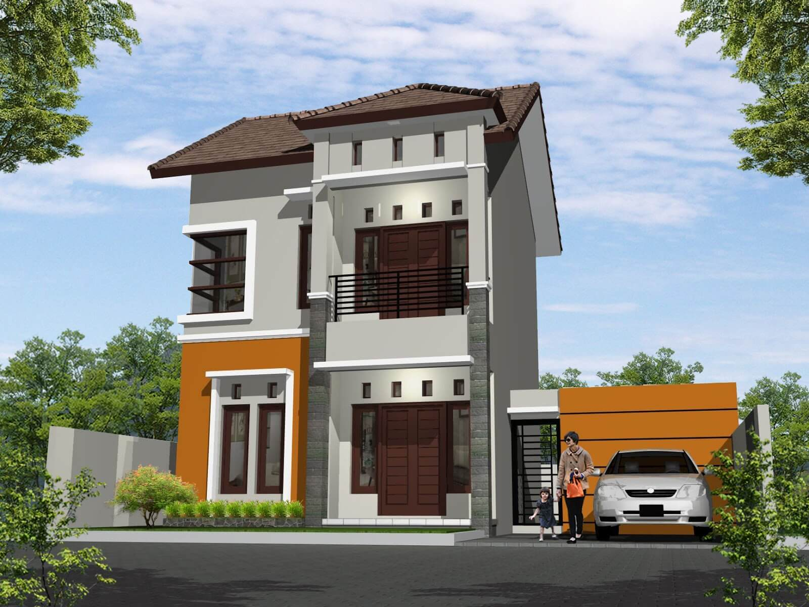 Desain Rumah Minimalis 2 Lantai tanpa Pagar