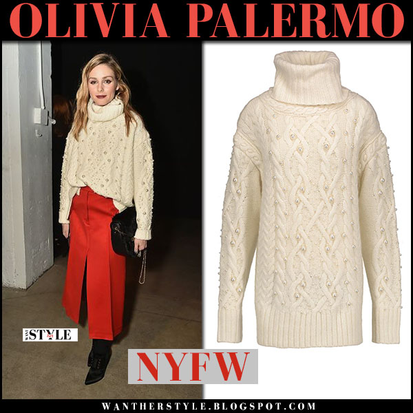 Olivia Palermo in chunky knit turtleneck sweater and red midi ...