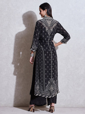 Ritu Kumar Black Lvory Printed suit Back side